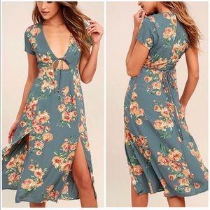 LULUS Teal Cut Out Floral Midi Dress